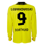 2013-14 Borussia Dortmund Long Sleeve Home Shirt (Lewandowski 9)