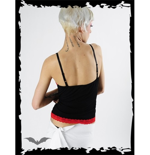 Image of top nero con spalline sottilissime e cuciture rosse