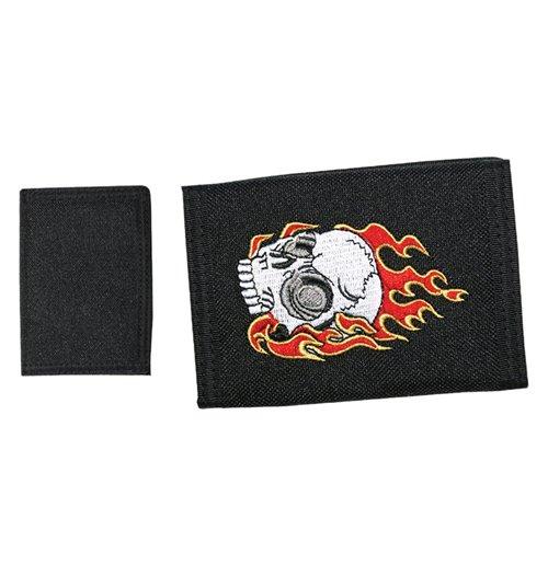 Image of Flames Skull - Black Velcro (Portafoglio)