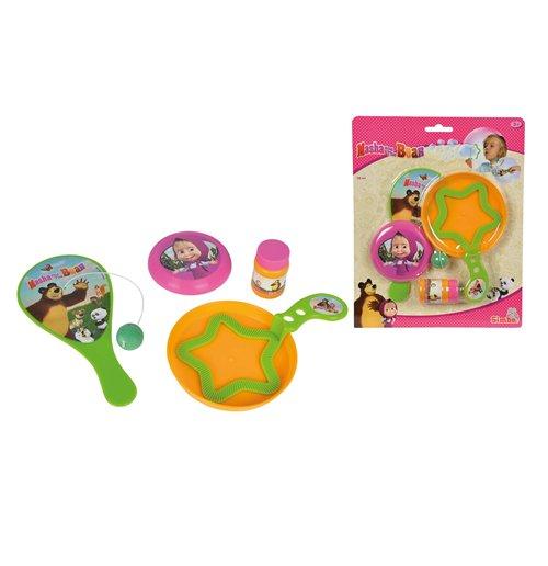 Image of Masha E Orso - Set Estate Con Bolle Di Sapone 30 Ml, Paddle Ball E Mini Frisbee
