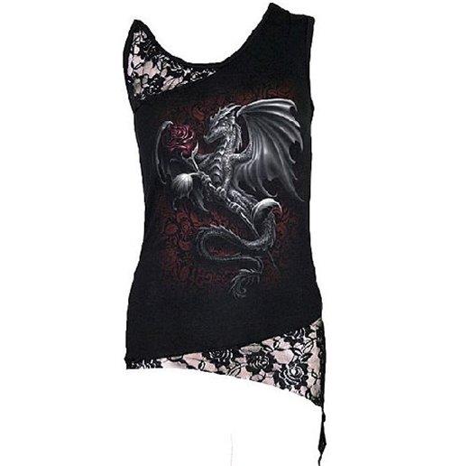 Image of Spiral – Dragon Rose - Adj Shoulder Lace Top Black (top Donna )