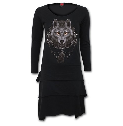 Spiral - Wolf Dreams Layered Skirt Dress L (abito Donna )