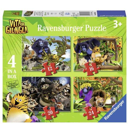 Image of Ravensburger 06885 - Puzzle 4 In A Box - Vita Da Giungla - Caccia Al Tesoro Di Pirati