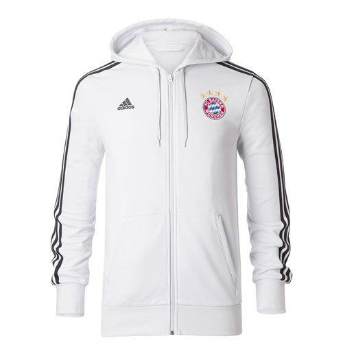 Sweat à Capuche Zippé Bayern Munich Adidas 3S 2017-2018 (Blanc)