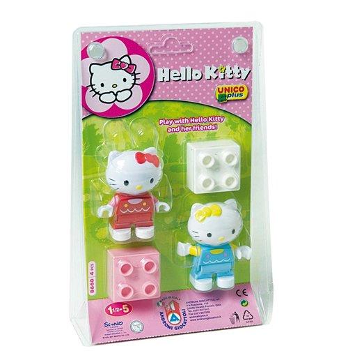 Image of Unico Plus - Costruzioni - Hello Kitty - Blister 2 Personaggi