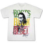 Bob Marley Roots Rock Rebel Grunge White Graphic Tee Shirt