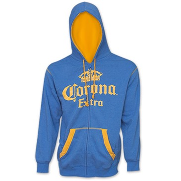 Offerta: CORONA EXTRA Light Heather Blue Gold Hoodie Zipper Sweatshirt