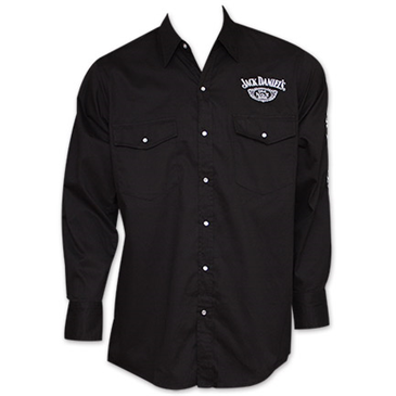 Jack Daniels Whiskey Long Sleeve ButtonUp Dress Shirt  Black