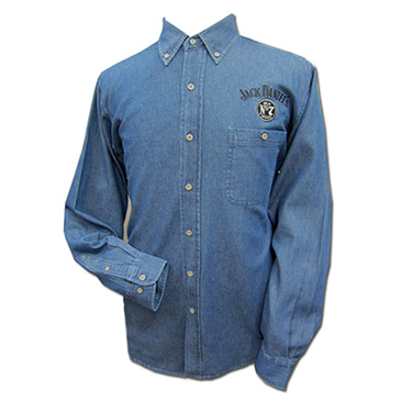 Jack Daniels Whiskey Logo Denim ButtonUp Shirt  Blue