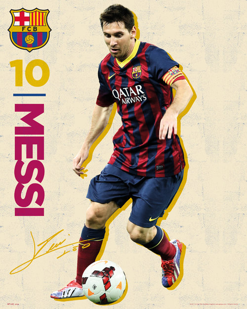 Poster Barcellona Messi Vintage 13/14