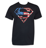 T-shirt Superman Patriotic American Flag Stars Stripes USA DC Comics