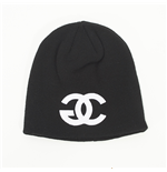 "Beanie Entics - grafica ""GANJA CHANEL"" - colore: Nero"