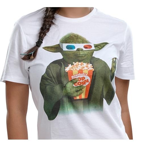 Acquista t shirt star wars yoda popcorn white originale for Merchandising star wars