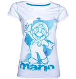 Nintendo - White Blue Mario (T-SHIRT Donna )