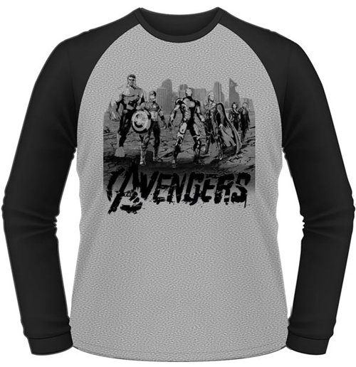 Avengers - Age Of Ultron - Team Art (unisex Maniche Lunghe )