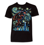 T-shirt Superman Flying Starry Night