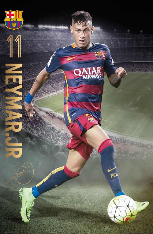 Poster Barcellona Neymar action 15/16