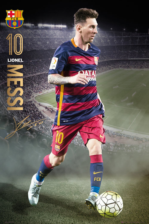 Poster Barcellona Messi action 15/16