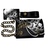 Pike - Foil Print Black Leather Chain Wallet (portafoglio)