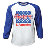 Doors (THE) - RAGLAN/BASEBALL L'AMERICA White Blue (T-SHIRT Unisex )