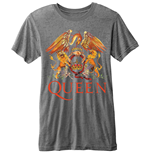 Queen - BURN-OUT Classic Crest Grey (T-SHIRT Unisex )