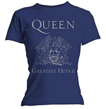 Queen - Greatest Hits Ii Navy (T-SHIRT Donna )