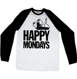 Happy Mondays - RAGLAN/BASEBALL Logo Black White (T-SHIRT Unisex )
