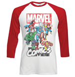 Marvel Comics - RAGLAN/BASEBALL Marvel Montage Red White (T-SHIRT Unisex )