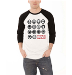 Marvel Comics - RAGLAN/BASEBALL Marvel Icons Black White (T-SHIRT Unisex )