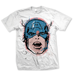 Marvel Comics - Cap Big Head Distressed Bianco (T-SHIRT Unisex )