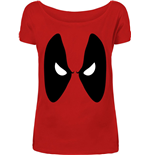 Deadpool - Angry Eyes Girls Red (T-SHIRT Donna )
