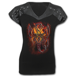 Spiral – Tribal Fury - Leather Look Studed Top Black (maglia Donna )