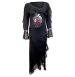 Spiral – Temptress Lace Drape Asymmetric Neck Gothic Dress (abito Donna )
