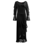 Spiral – Gothic Elegance Lace Drape Asymmetric Neck Gothic Dress (abito Donna )