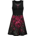 Spiral - Blood Rose Ao Mesh Layered Midi Skater Dress (abito Donna )