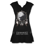 Spiral - Wolf Chi Stud Waist Mini Dress Black (abito Donna )