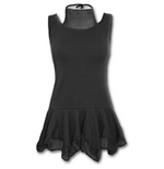 Spiral - Gothic Elegance - 2IN1 Mesh Vest Dress Black (abito Donna )