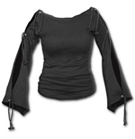 Spiral - Gothic Elegance - Boat Neck Open Top Black (top Donna )