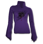 Spiral – Black Rose Dew - High Neck Goth Purple (maglia Manica Lunga Donna )
