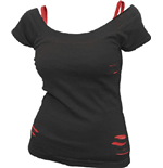 Urban Fashion - 2IN1 Red Ripped Top Black (top Donna )