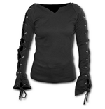 Gothic Elegance - Laceup Sleeve Top Black (top Donna )