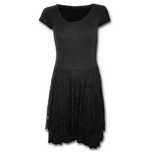 Gothic Elegance - Lace Layered Skater Dress Black (abito Donna )