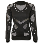Gothic Rock - Mesh Holes Grunge Top Black (top Donna )