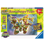 Ravensburger 07597 - Puzzle 2x12 Pz - Teenage Mutant Ninja Turtles - Le Tartarughe Ninja In Azione