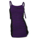 Spiral - Gothic Rock - Long Laceup Camisole Top Purple Black (abito Donna )