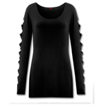 Metal Streetwear Slashed Sleeve Boatneck Top (top Donna )
