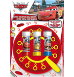 Dulcop Bubble World - Bolle Di Sapone - Disco Volante Bolle Giganti - Cars - Piatto + Soffiatore Multiplo + 3 Flaconi 60 Ml