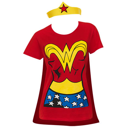 T-shirt Wonder Woman con mantello e corona