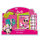 Minnie - Set Scatola Con Chiave + Quaderno + Penna + Stickers