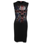 Spiral - Union Wrath - Sleeveless Mesh Panel Dress Black (abito Donna )